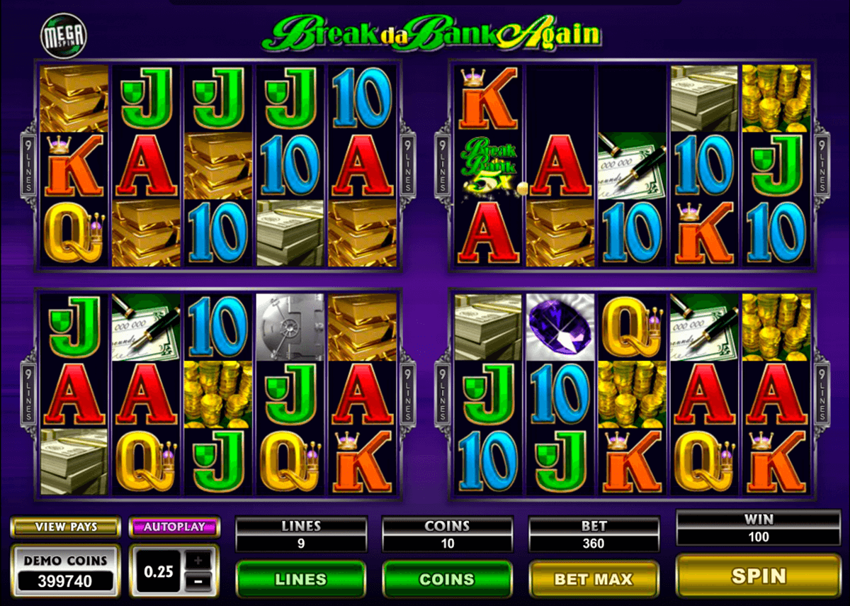 break da bank again megaspin microgaming online spielen
