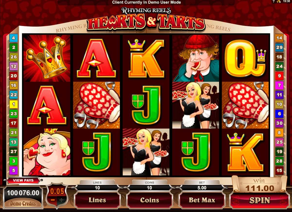 rhyming reels hearts and tarts microgaming online spielen