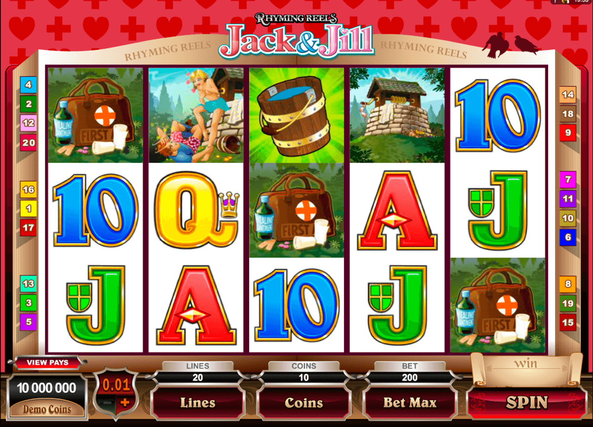 rhyming reels jack and jill microgaming online spielen